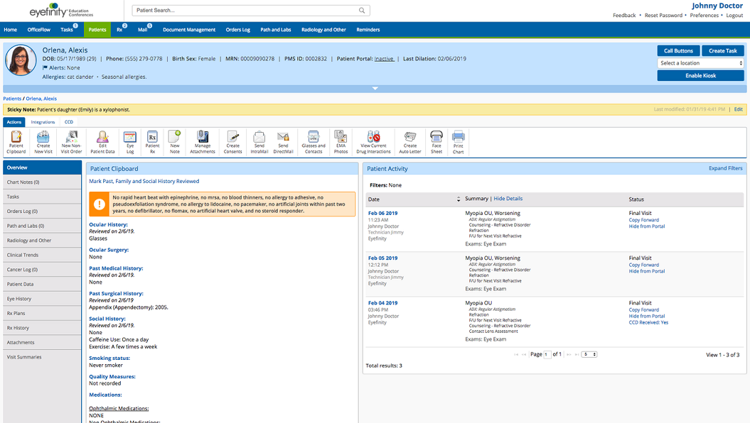 Eyefinity EHR Software EHR and Practice Management Software